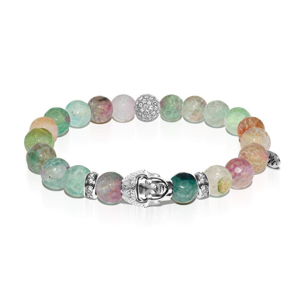Four Noble Truths | White Gold Buddha | Light Green Faceted Agate Bracelet