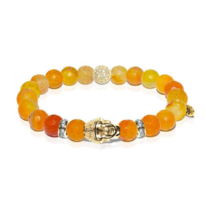 Law of Attraction | Gold Buddha | Orange Agate Bracelet