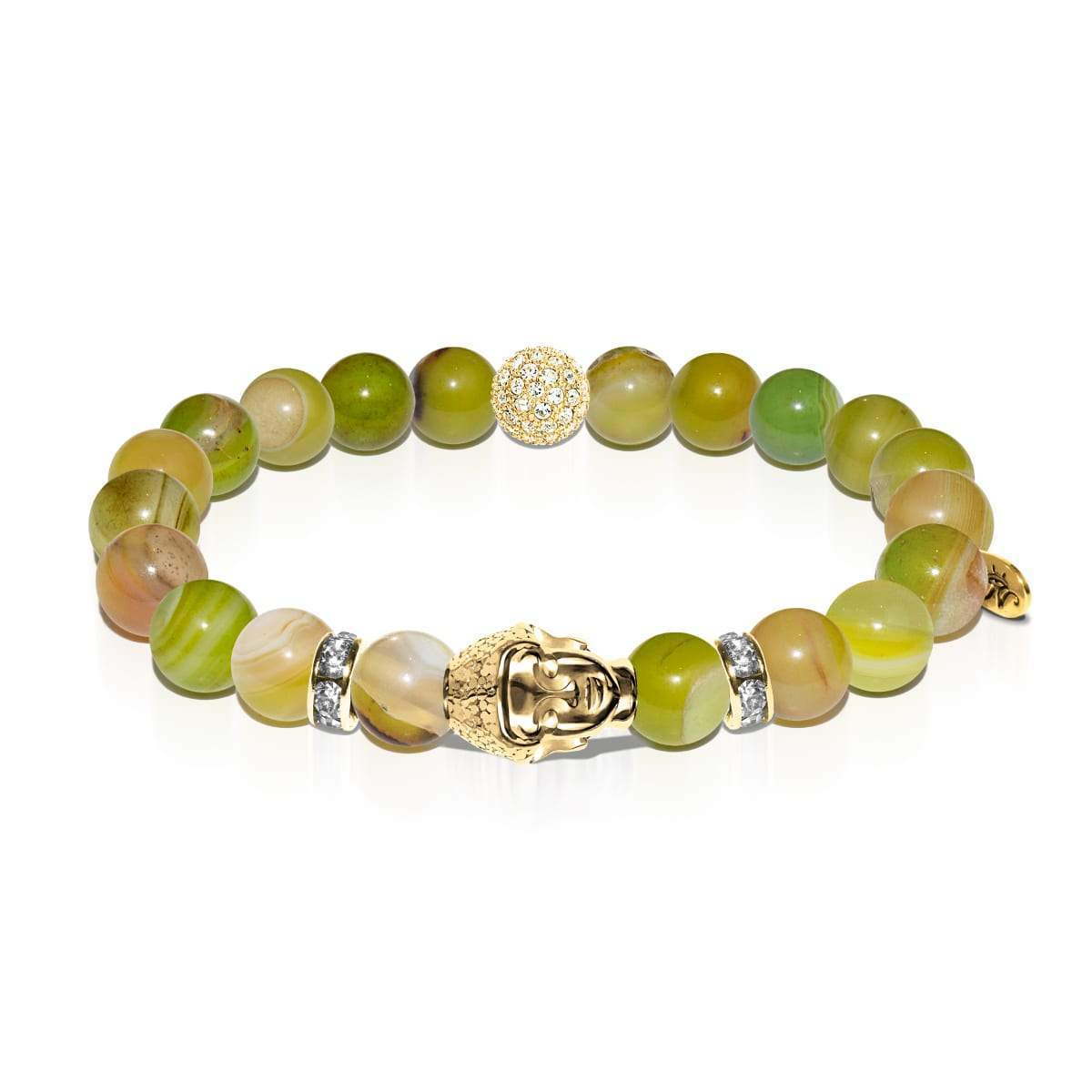 Metaphysical | Gold Buddha | Olive Green Striped Agate Bracelet