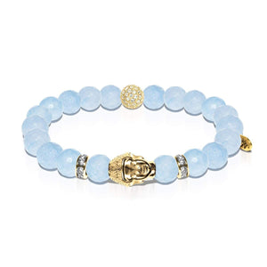 Prana | Gold Buddha | Light Blue Jade Bracelet
