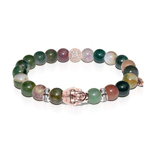 Samsara | Rose Gold Buddha | India Faceted Agate Bracelet