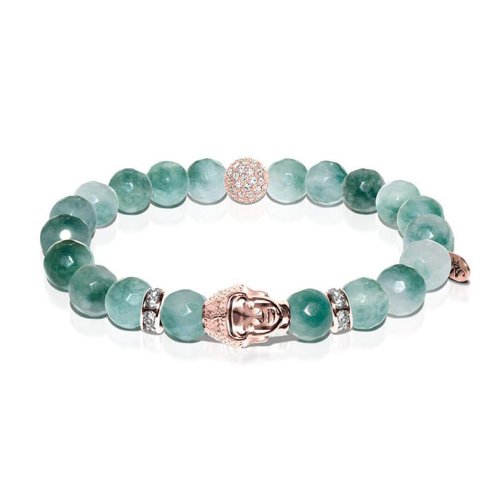 Teacher | Rose Gold Buddha | Grassy Jade Bracelet