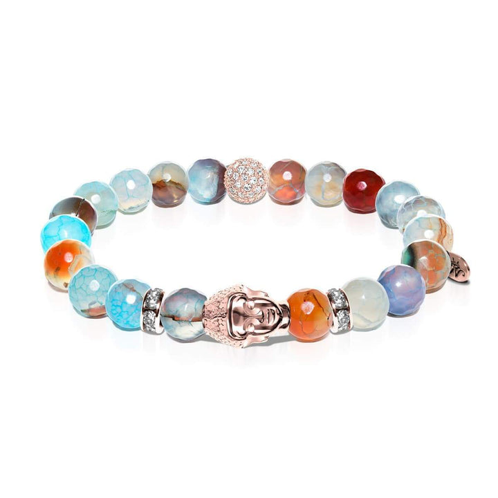 Transcendental | Rose Gold Buddha | Blue Dragon Grain Agate Bracelet