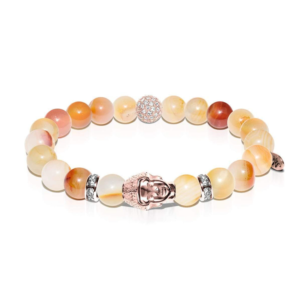 Vision Quest | Rose Gold Buddha | Natural Red Agate Bracelet