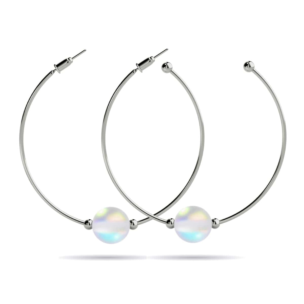 Rainbow White | White Gold Vermeil | Mermaid Glass Hoop Earrings