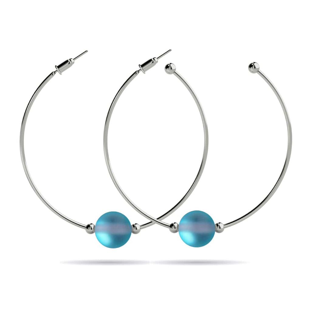 Aquamarine | White Gold Vermeil | Mermaid Glass Hoop Earrings