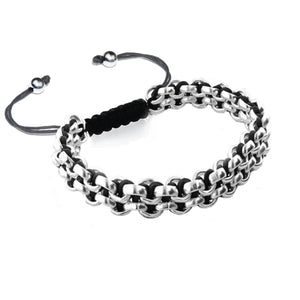 Silver Kismet Links Bracelet | Black | Thin