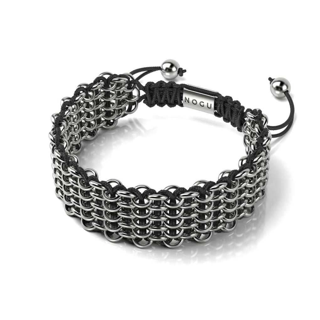 Men's | Silver Kismet Links Bracelet | Black | Deluxe