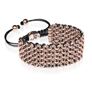 Rose Gold Kismet Links Bracelet | Black | Deluxe