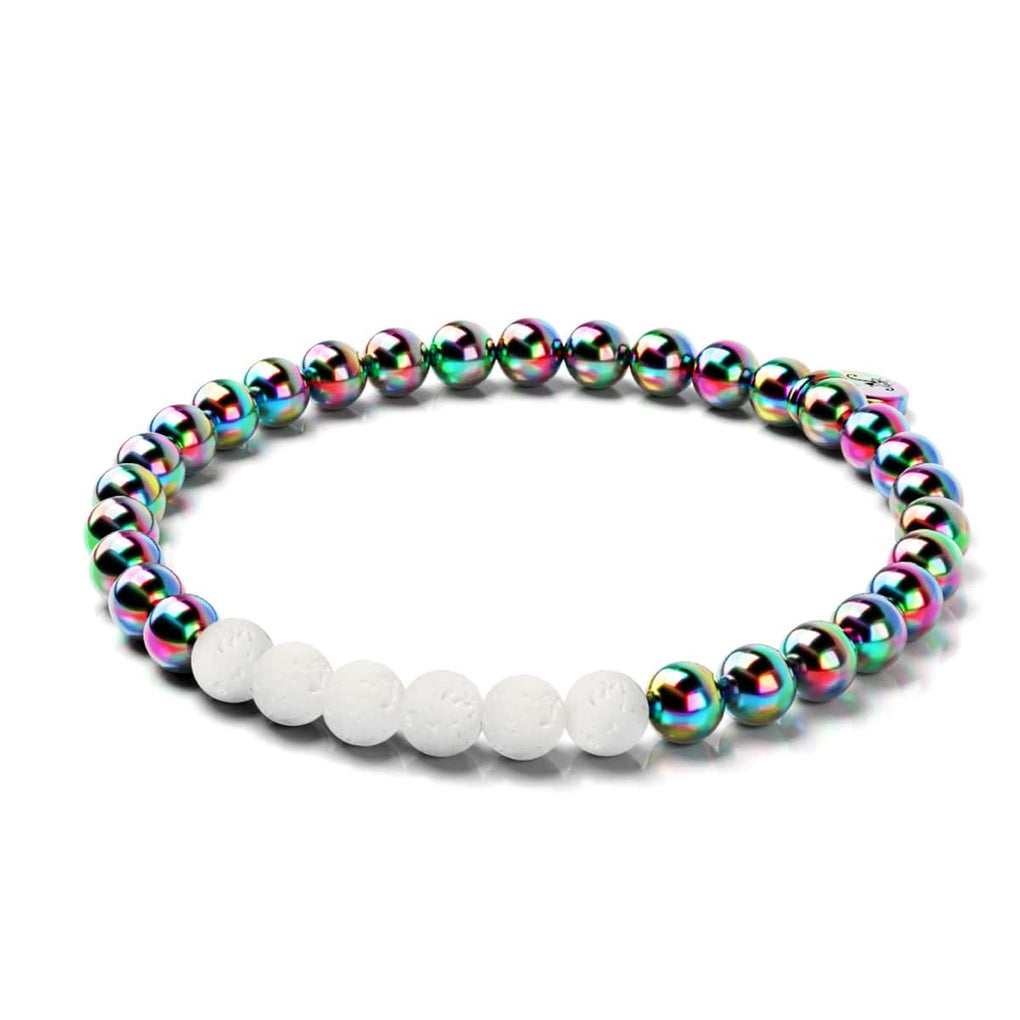 Unicorn Silver and White | Lava Rock Bracelet