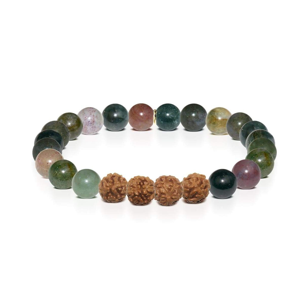 Harmony | Gold Mala Yoga Bracelet | Indian Agate