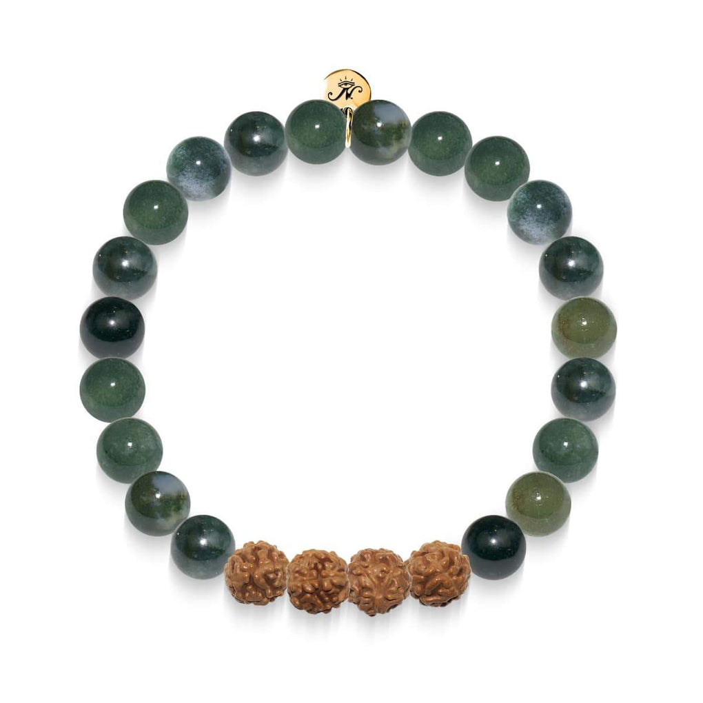 Dreamscape | Gold Mala Yoga Bracelet | Waterweeds Agate