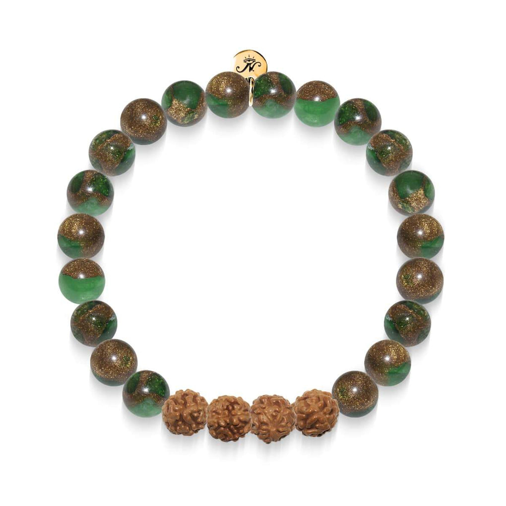 Consciousness | Gold Mala Yoga Bracelet | New Green Agate