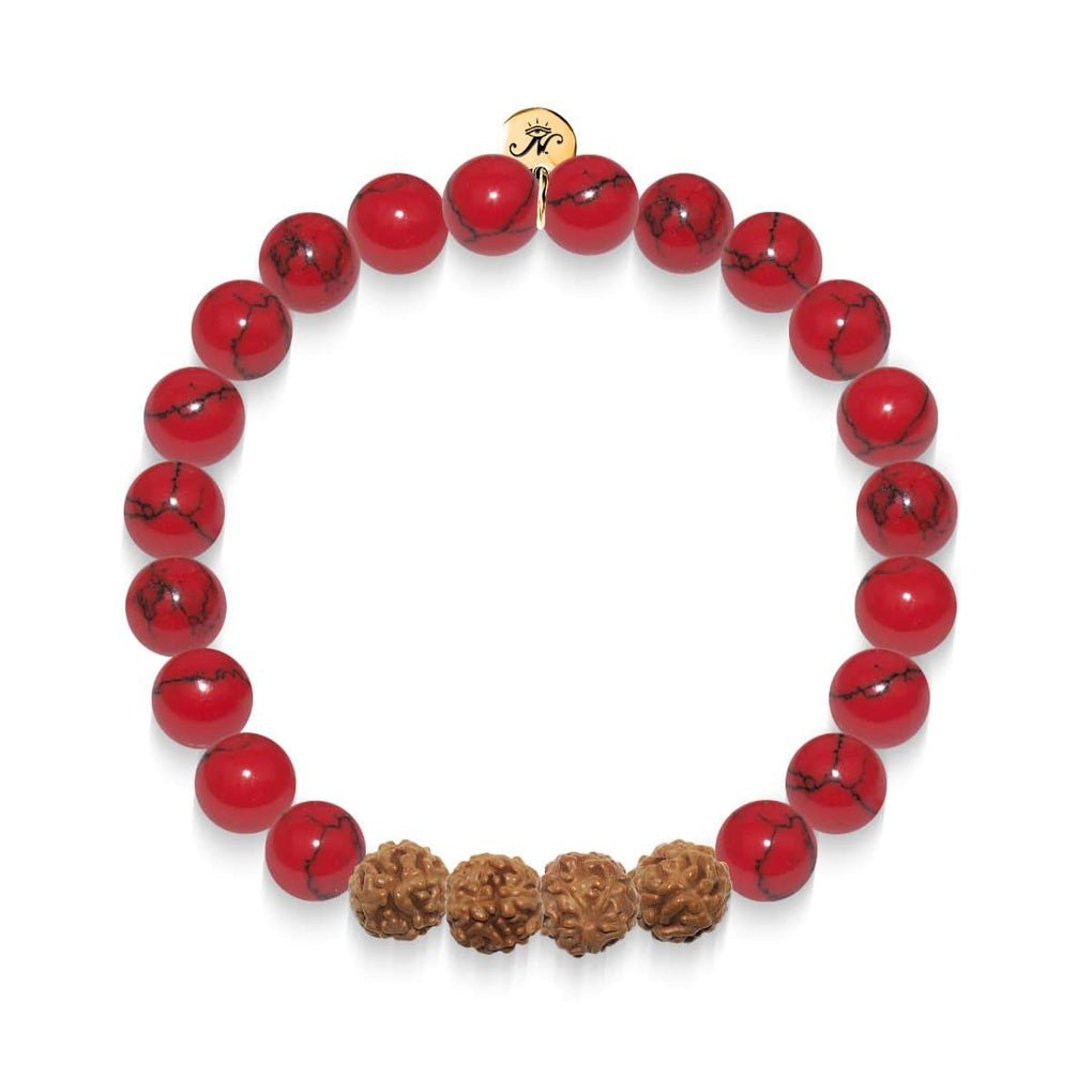 Regeneration | Gold Mala Yoga Bracelet | Red Turquoise