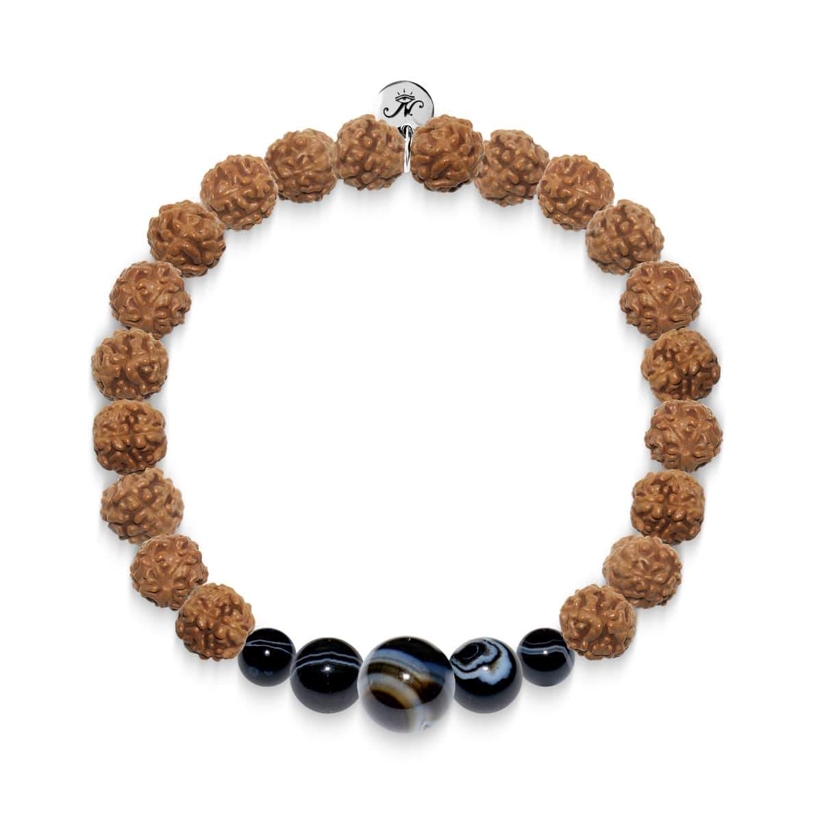 Wheel of Destiny | Silver Mala Yoga Bracelet | Black Line Agate