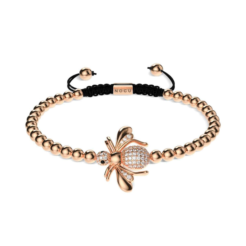 Queen | 18k Rose Gold | Crystal Honeybee Macrame Charmballa Bracelet
