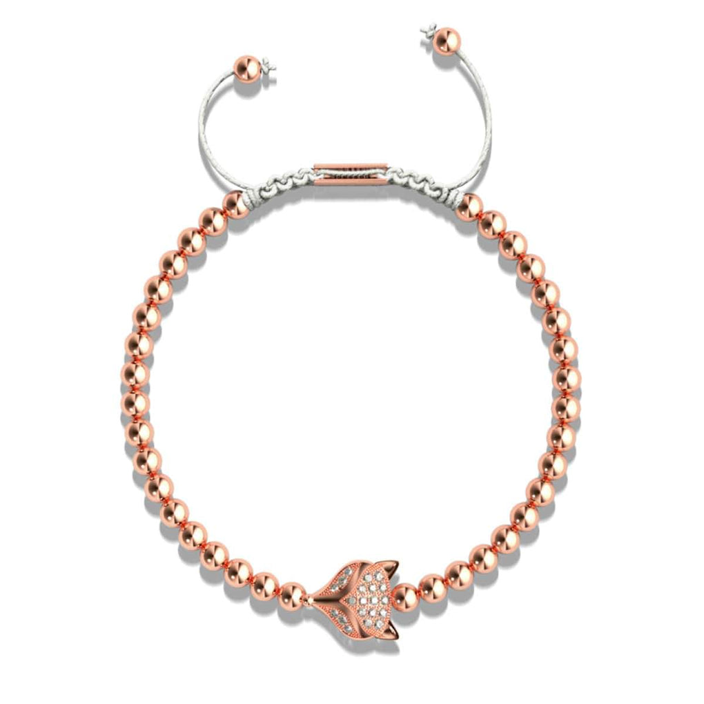 Crystal Fox | 18k Rose Gold | White | Macrame Charmballa Bracelet