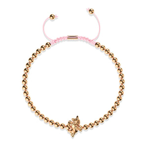 Pegasus | 18k Rose Gold | Winged Unicorn Macrame Charm Bracelet