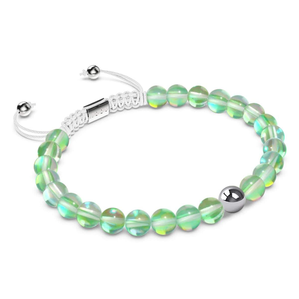 Cactus Crystal | Silver | Mermaid Glass Macrame Bead Bracelet