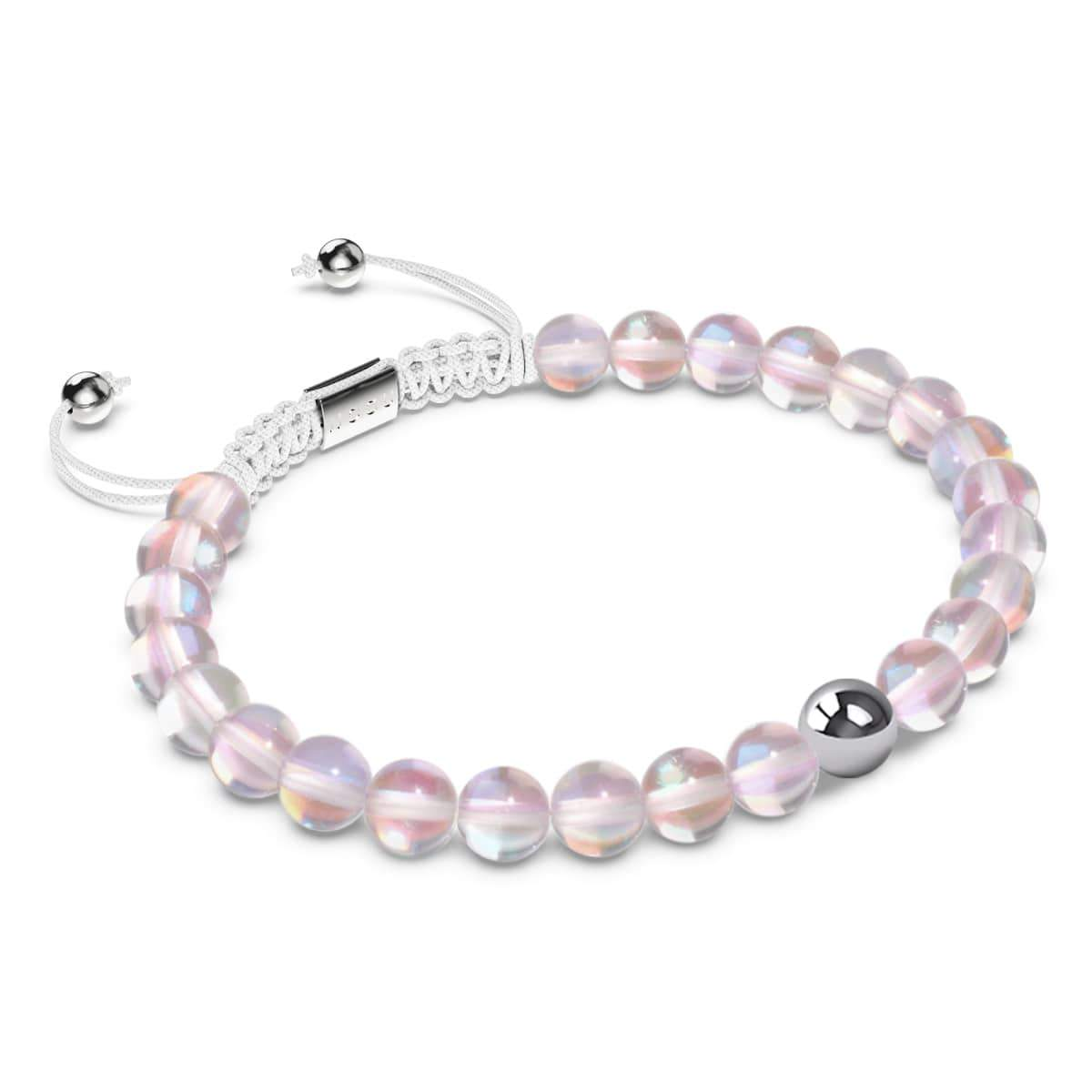 Cotton Candy Crystal | Silver | Mermaid Glass Macrame Bead Bracelet