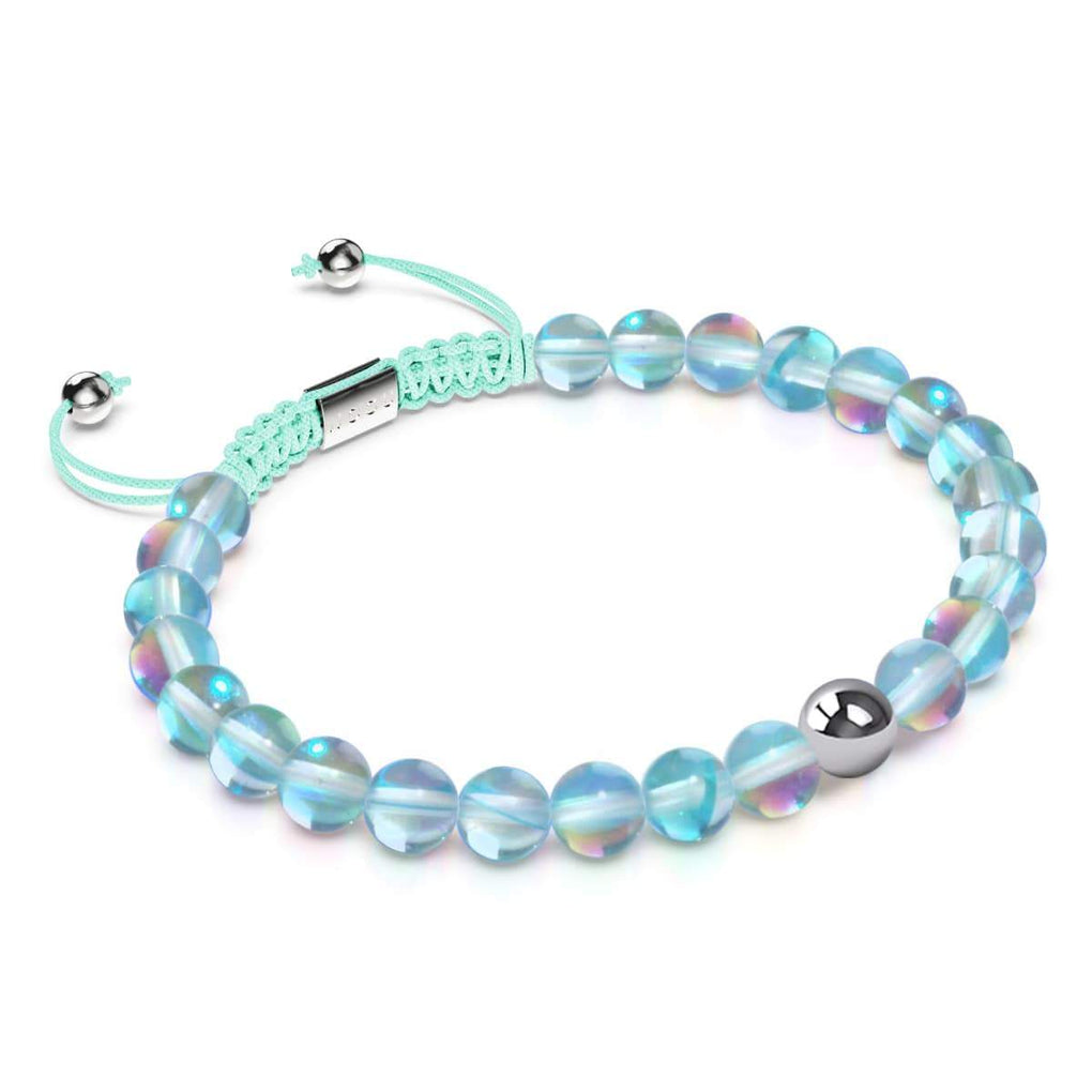 Ocean Crystal Crystal | Silver | Mermaid Glass Macrame Bead Bracelet