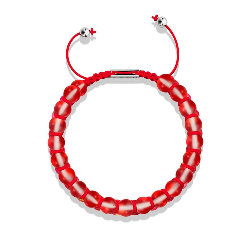 Dark Vermillion | Silver | Mermaid Glass Macrame Bead Bracelet