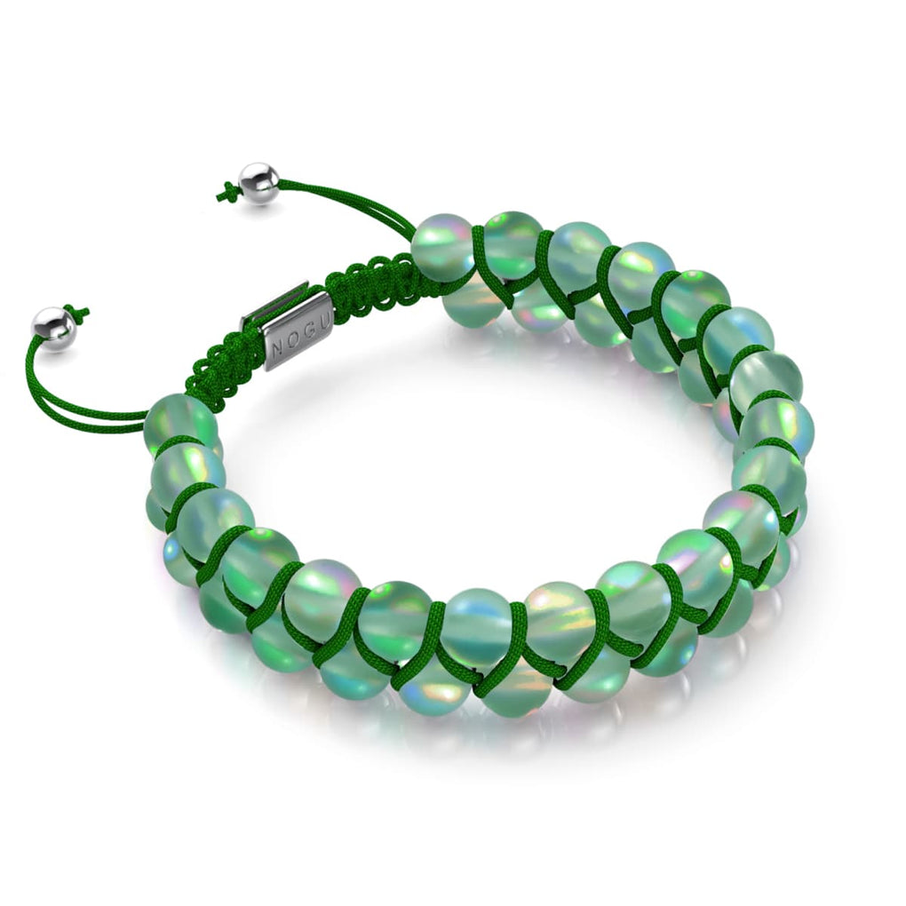 Emerald | Silver | Double Mermaid Glass Bracelet