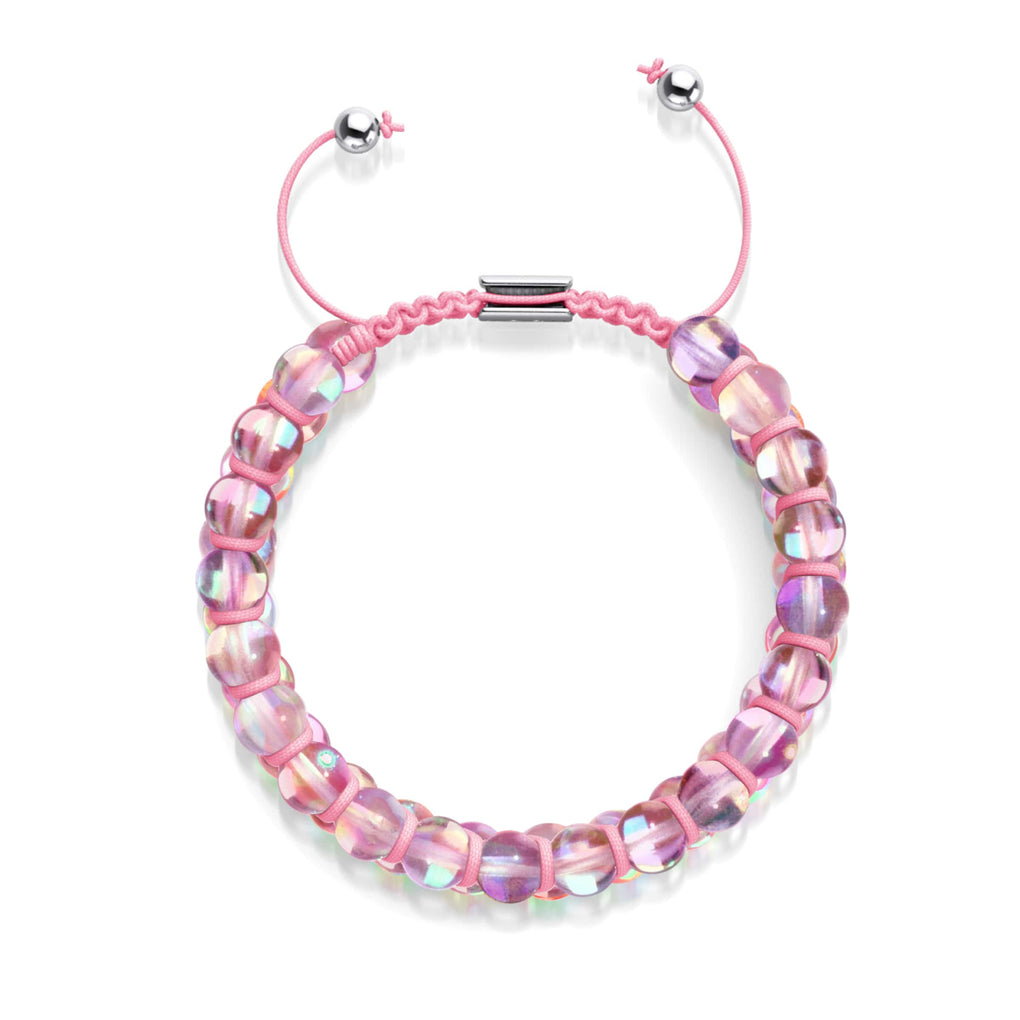Pink Nebula | Silver | Double Galaxy Glass Bracelet