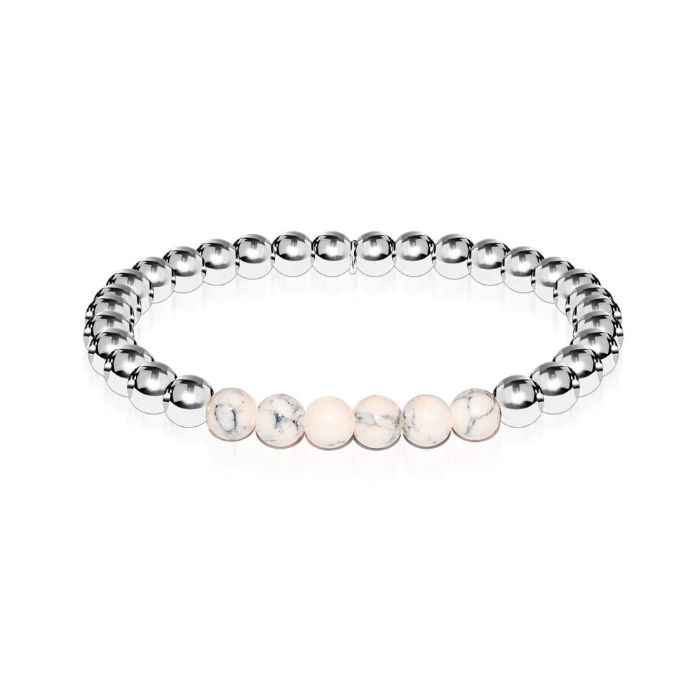 Enthusiastic | Silver | Cream Turquoise | Gemstone Expression Bracelet