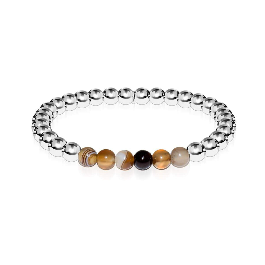 Satisfaction | Silver | Grey Line Agate | Gemstone Expression Bracelet