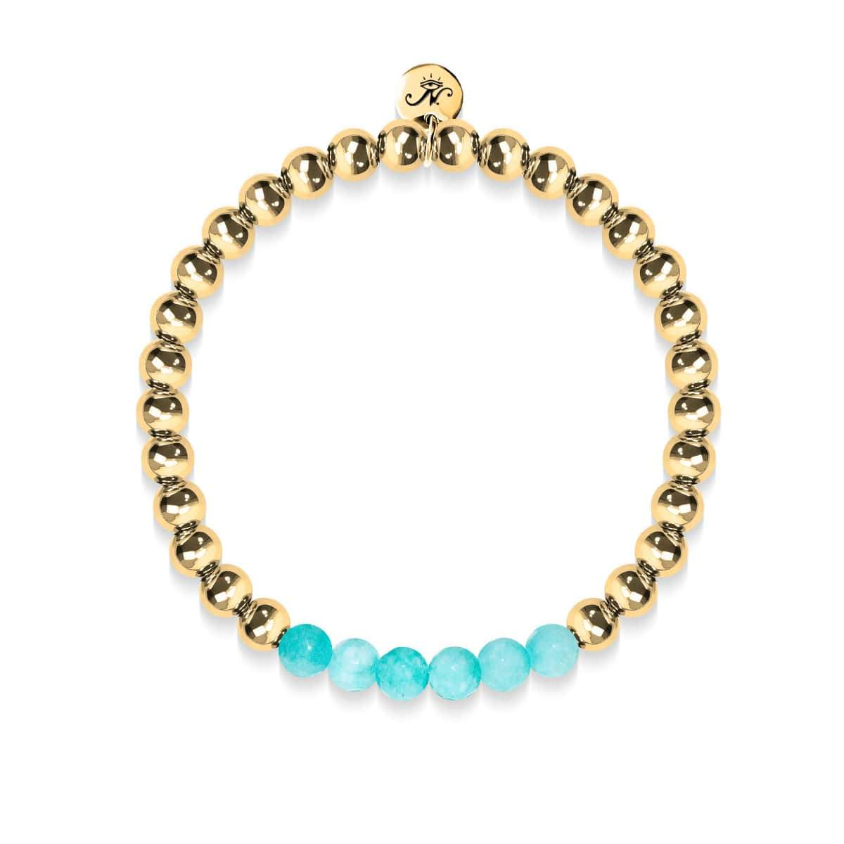 Cheerful | 18k Gold | Aquamarine Jade | Expression Bracelet