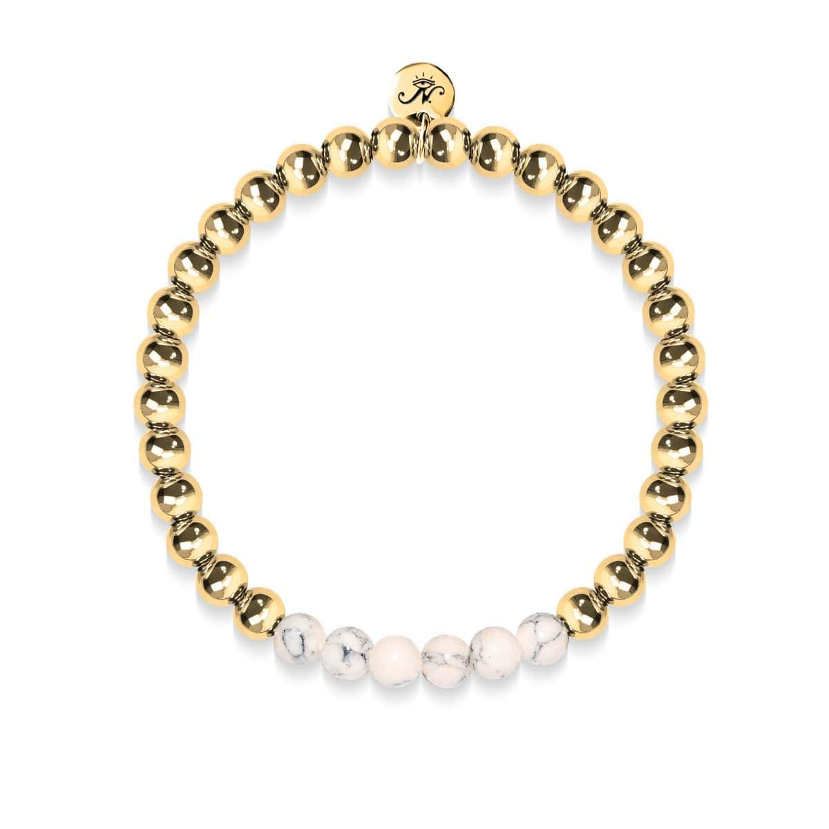 Enthusiastic | 18k Gold | Cream Turquoise | Expression Bracelet