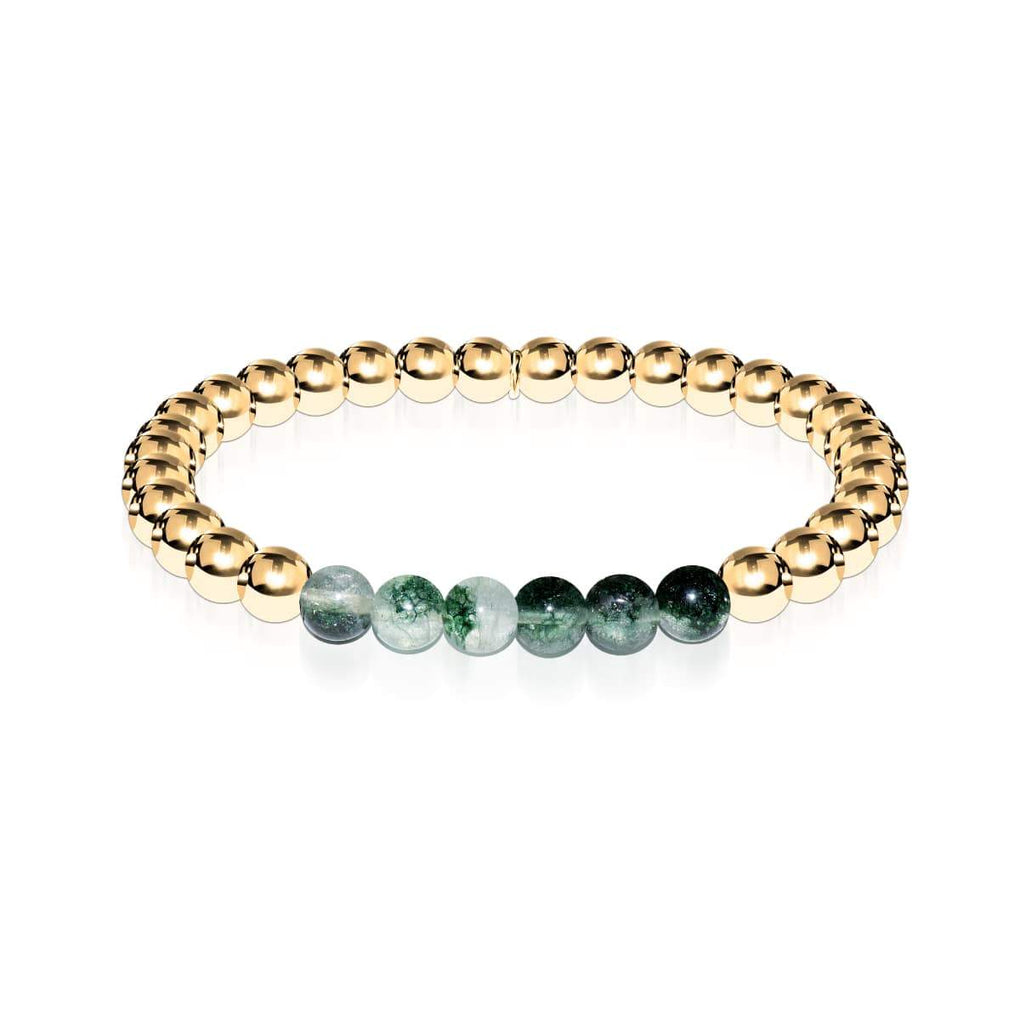 Grateful | 18k Gold | Green Leaf Agate | Expression Bracelet