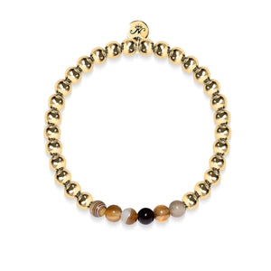 Satisfaction | 18k Gold | Grey Line Agate | Expression Bracelet
