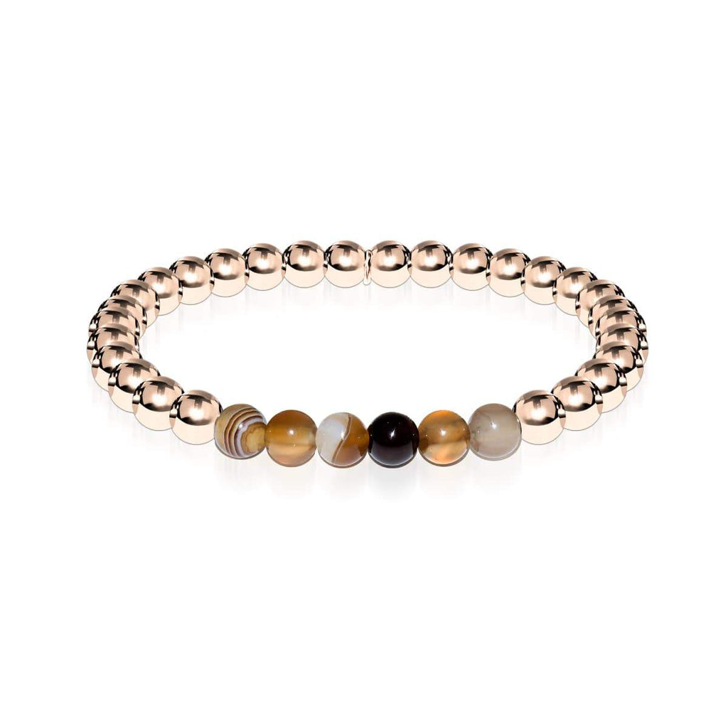 Satisfaction | 18k Rose Gold | Grey Line Agate | Expression Bracelet