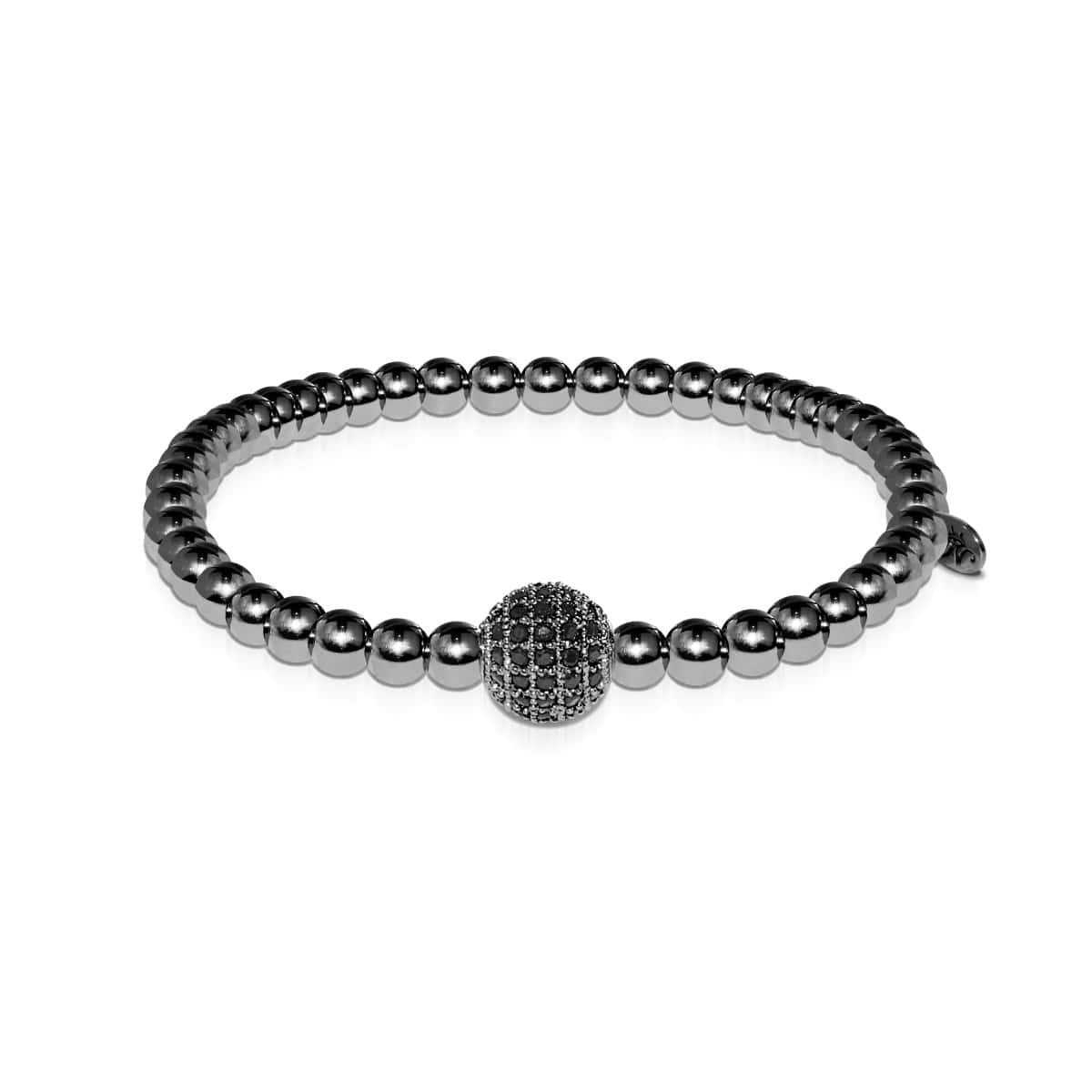 Men's | Gunmetal | Black Cubic Zirconia Crystals | Bead Bracelet