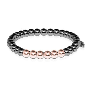Men's | Gunmetal | 18k Rose Gold | Bead Bracelet