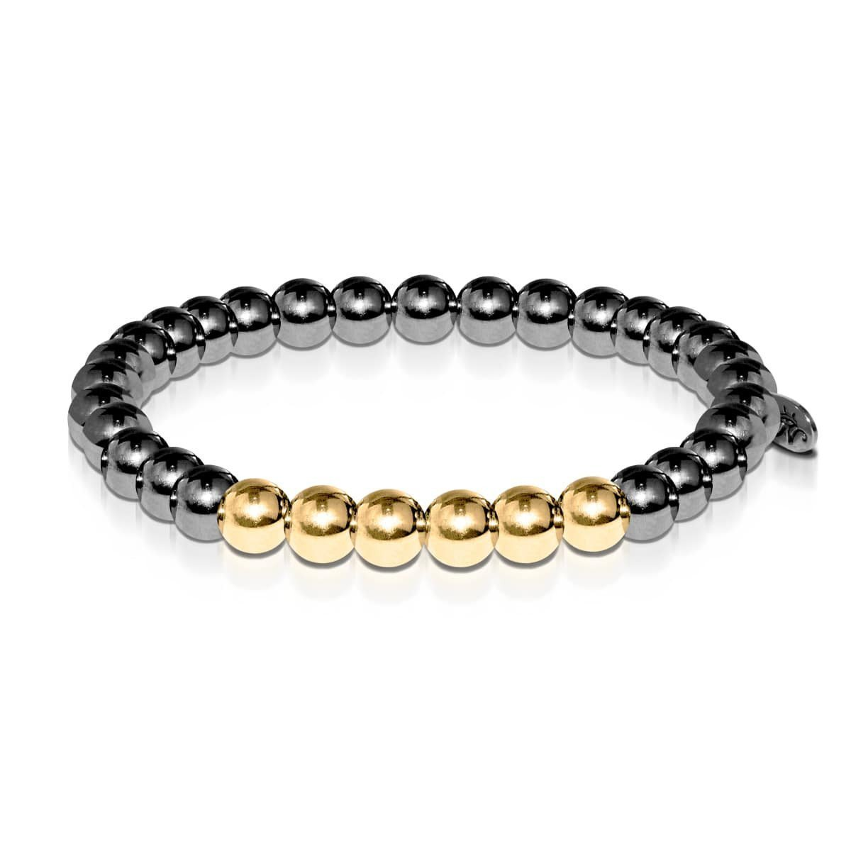 Men's | Gunmetal | 18k Gold | Bead Bracelet