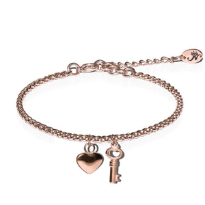 18k Rose Gold | Key to My Heart | Dolce Vita Charm Bracelet