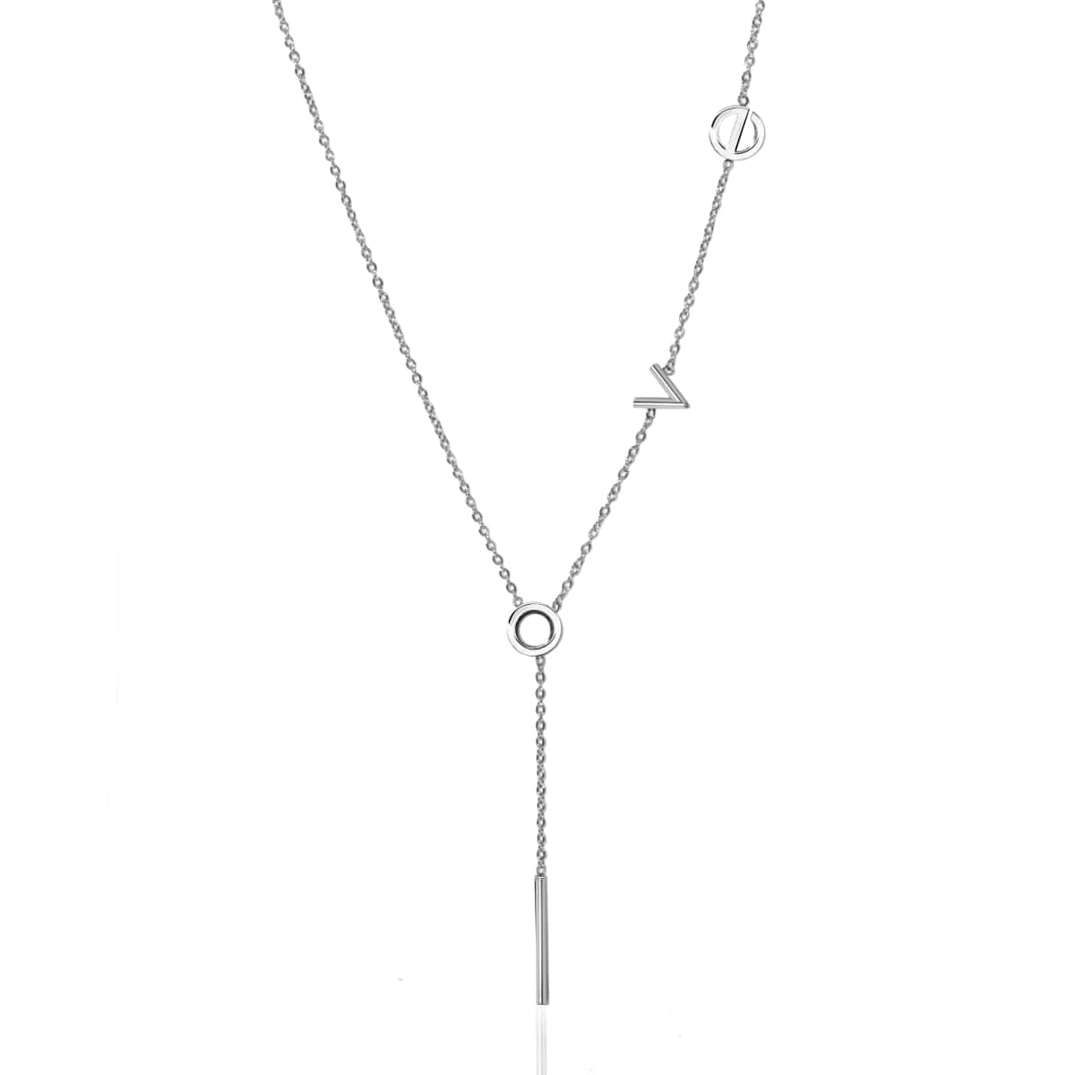 Love | Silver | Lariat Necklace