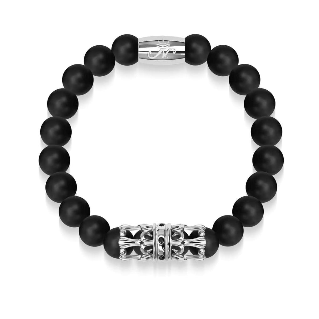 Silver Crown | Matte Black Agate | Kingdom Bead Bracelet
