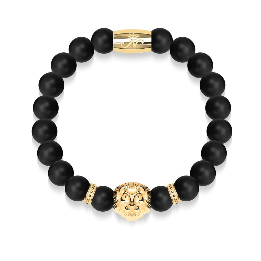 18k Gold Lion | Matte Black Agate | Kingdom Bead Bracelet