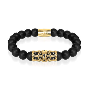 18k Gold Crown | Matte Black Agate | Kingdom Bead Bracelet