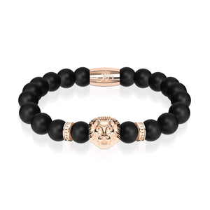 18k Rose Gold Lion | Matte Black Agate | Kingdom Bead Bracelet
