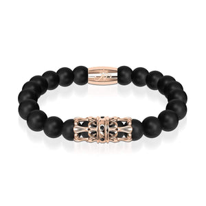 18k Rose Gold Crown | Matte Black Agate | Kingdom Bead Bracelet