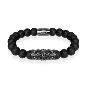 Gunmetal Crown | Matte Black Agate | Kingdom Bead Bracelet