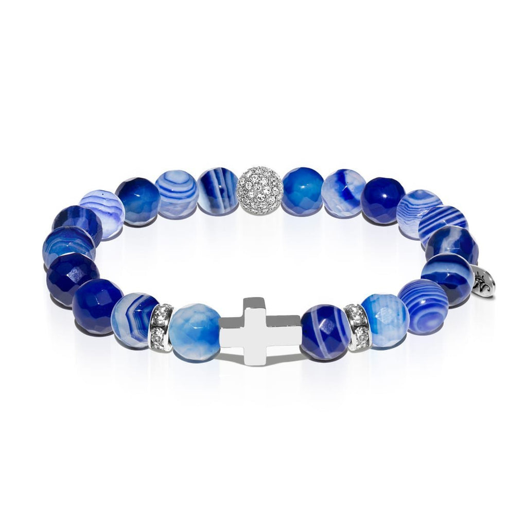 St. Cecilia | White Gold Cross | Dark Blue Agate Bracelet