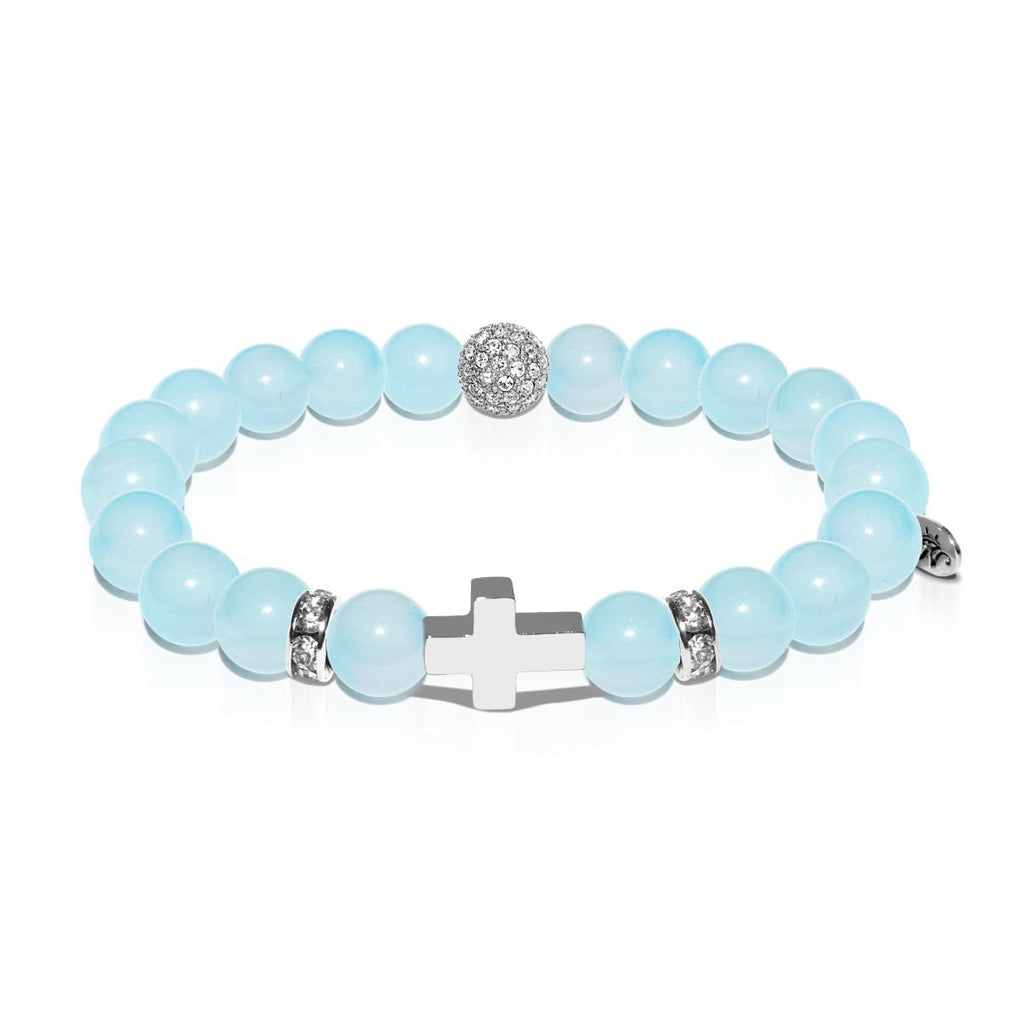 St. Clare of Assisi | White Gold Cross | Sky Blue Agate Bracelet
