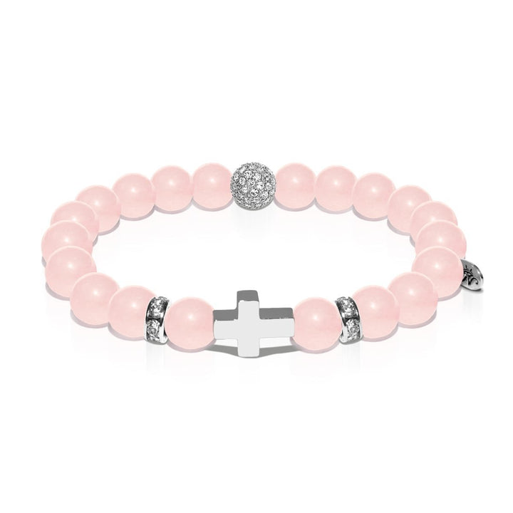 St. Francis of Assisi | White Gold Cross | Rose Quartz Bracelet