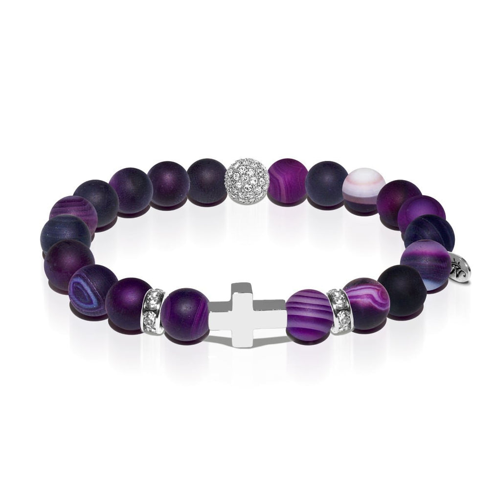 St. Joan of Arc | White Gold Cross | Matte Purple Striped Agate Bracelet